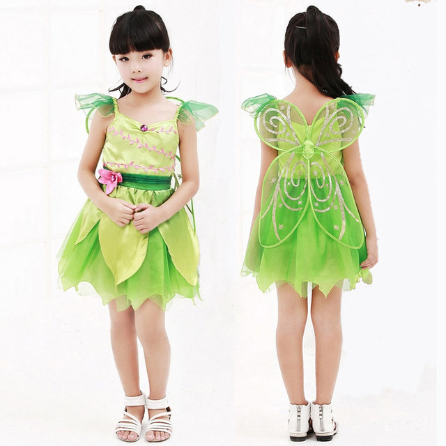 OHCOS Anime Tinkerbell Girl Costume Tinker bell Dress Peter Pan Cosplay Costume Dress For Kids Girls