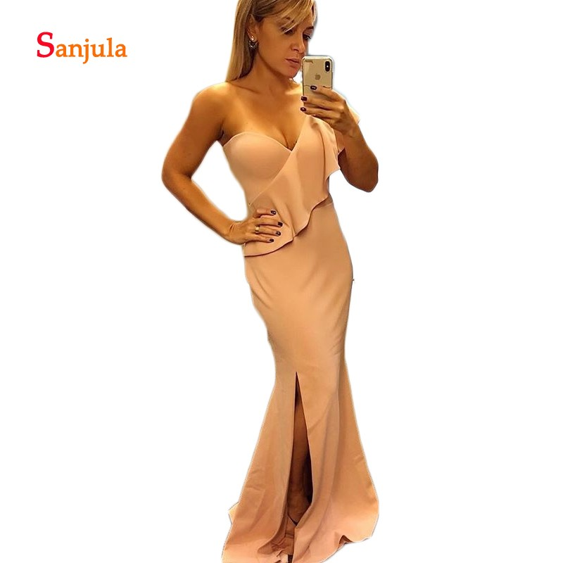 Simple Long   Bridesmaid     Dresses   2019 One Shoulder Sheath Ruffles Maid of Honor Gowns Leg Slit Prom Party   Dresses   Long D132
