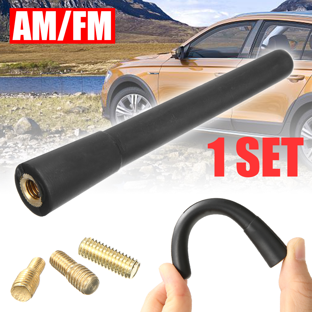 Universal Car Short Stubby Mast Antenna SCREW-IN Type AM/FM Radio Aerials For Car Exterior Styling