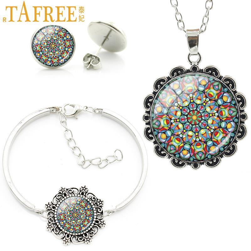 TAFREE Exquisite bohemian style color mandala flower statement necklace earrings bracelet set vintage dubai jewelry sets HT123