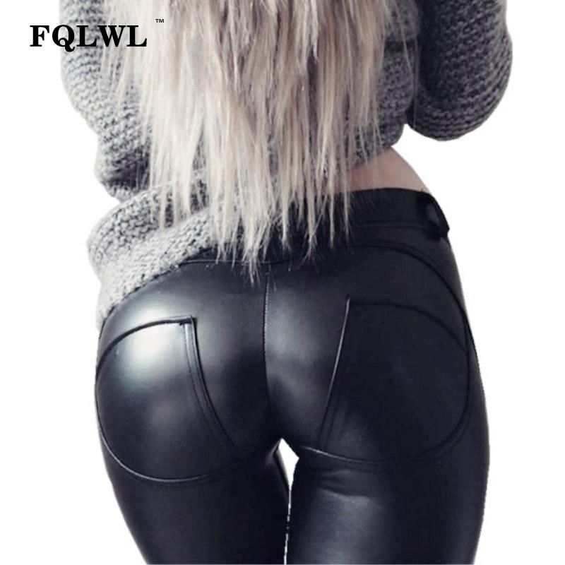 FQLWL Faux Pu Leather Leggings Women Leggins High Waist Sexy Black Leggings Push Up Jegging Warm Winter Leggings For Women Pants