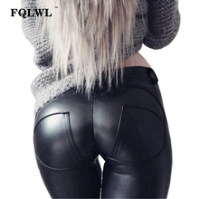 FQLWL Faux Pu Leather Leggings Women Leggins High Waist Sexy Black Leggings Push Up Jegging Warm Winter Leggings For Women Pants