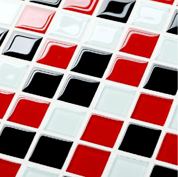 glass white red black tile backsplash kitchen bath shower mosaic