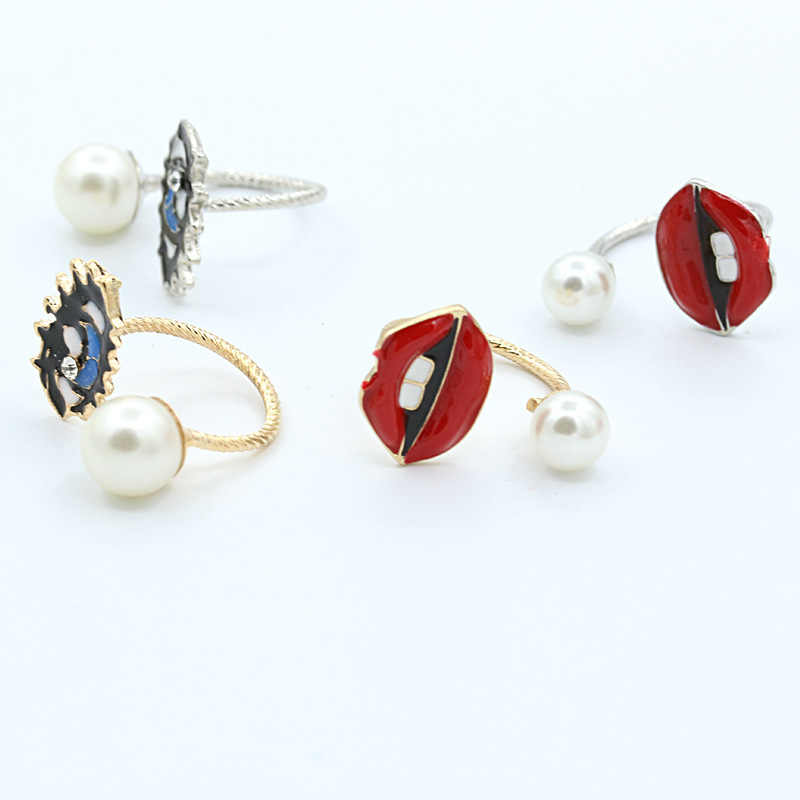 Anillos de labios de ojo de perla imitación Retro blanco rojo azul negro cuentas nudillos anillos para mujer