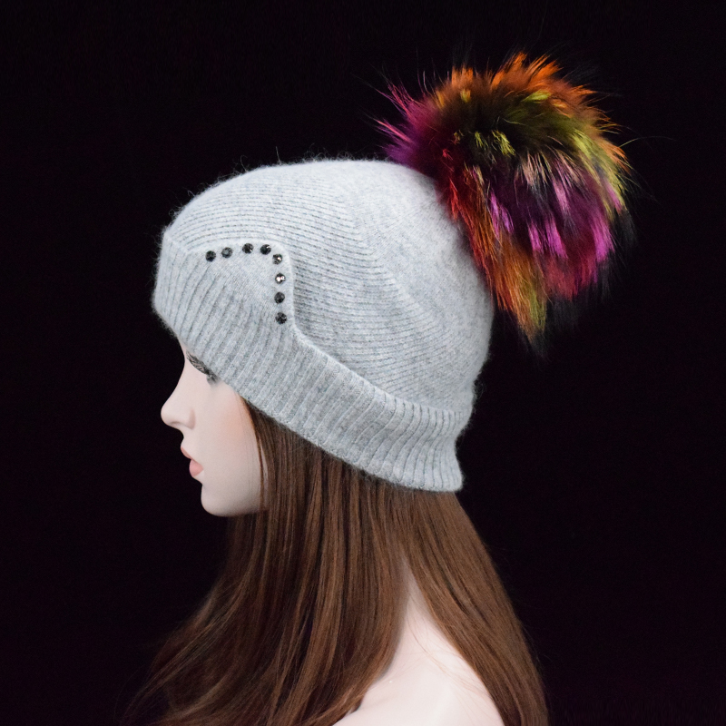 2017 New brand Winter Solid Color Skullies And Beanies Women wool hat  Lovely ear hat for Girls 22cm Colored Fur Pom Pom Hat skullies