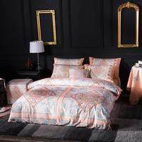 Famvotar Unique Luxury Bedding Set Vibrant Floral Paisley Embroidery Duvet Cover Bed Set Flat Bed Sheet Flower Bedding Set 4 Pcs