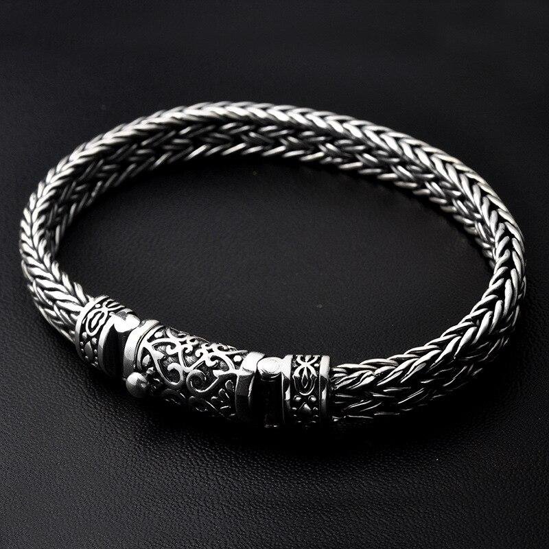 Handmade Braided Real 925 Sterling Silver Bracelets For Men Heavy Vintage Thai Silver Bracelet Viking Male