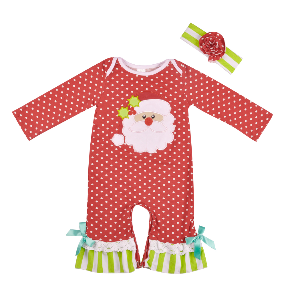 Christmas Baby Winter Romper Red Cotton Polka Dot Santa Claus Embroidery Rompers Girl Jumpsuit Clothes With Headband R023 стоимость