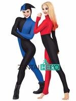 Free Shipping Harly Quin Cosplay Costume Unitard Zentai Catsuit Lycra Spandex Bodysuits Women Superhero Cosplay Costume LL1007