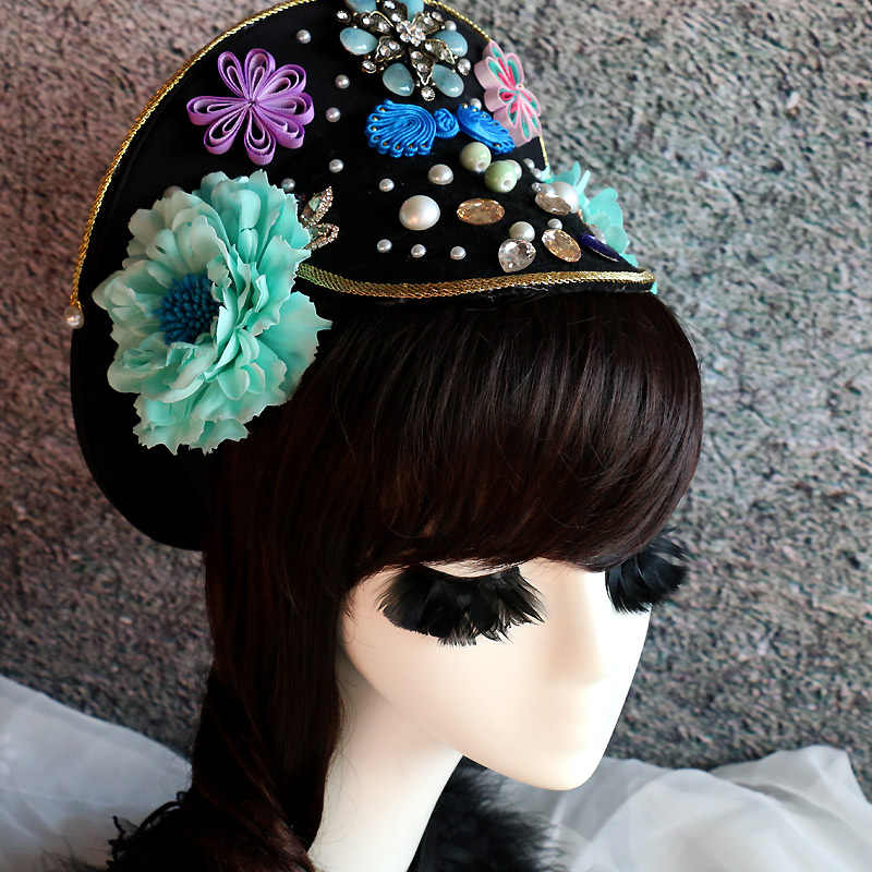 3309fbd86 customized ancient royal hat for women qing dynasty empress hat beautiful  princess hat festival party hat