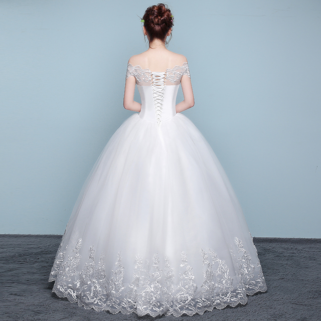 New Wedding Dress Lace Boat Neck Ball Gown Off The Shoulder Princess Plus Size Wedding Dresses 2