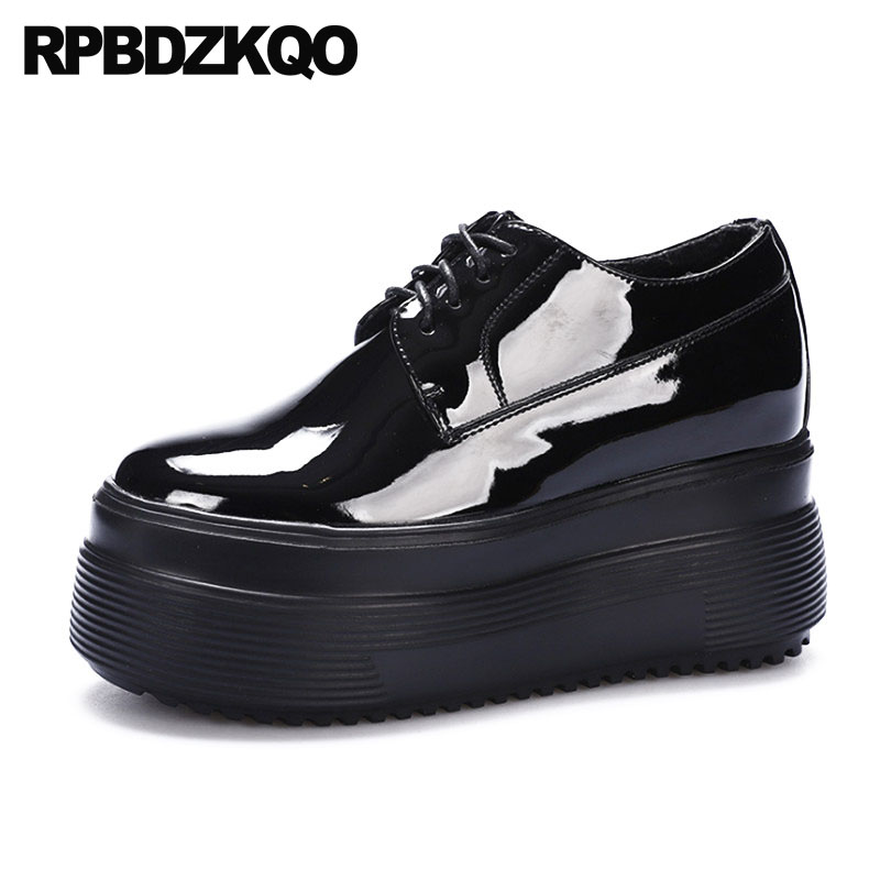 bf646954d65c Lace Up Patent Leather White Muffin Oxfords Women Creepers Platform Shoes  Black Thick Sole Gothic British Style Elevator Spring