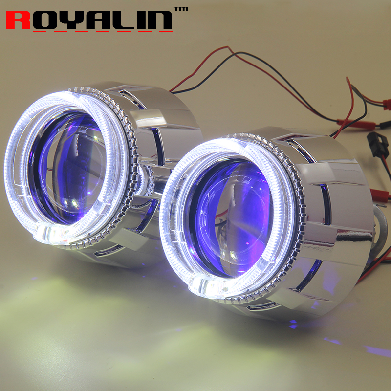 ROYALIN Car Lights Metal Lens Bi Xenon H1 Projector w/ LED Angel Devil Eyes White For H4 H7 Motorcycle Auto Headlamp Replacement