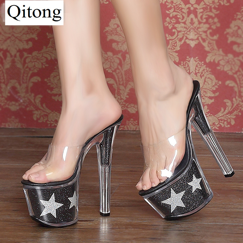 Size 34-44 Qitong 17CM Woman Thin Ultra High Heels Platform Slipper and Sandals Nightclub Womens Shoes Heeled Sexy Party Shoes  euro size 34 44 pu woman 15 and 17cm high heels platform sandals nightclub woman high heeled birthday party shoes for t station