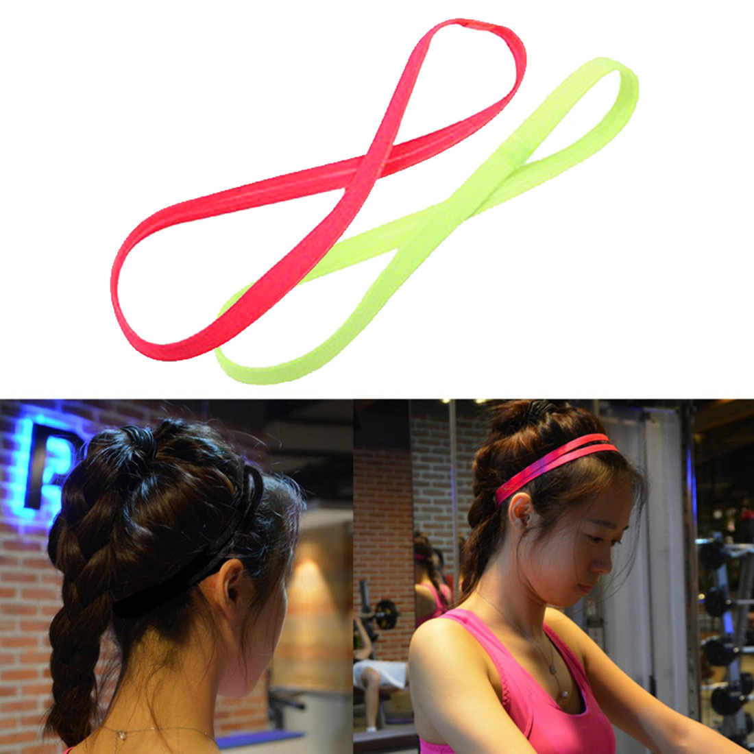 New Men Women Yoga Hair Bands Sports Headband Anti-Slip Elastic Rubber Sweatband Yoga Running Football Biking Headband