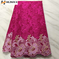Latest African Swiss Voile Lace Fabric High Quality Fushua Pink Polish Lace Embroidered French Cotton Lace Fabric PLA29 1