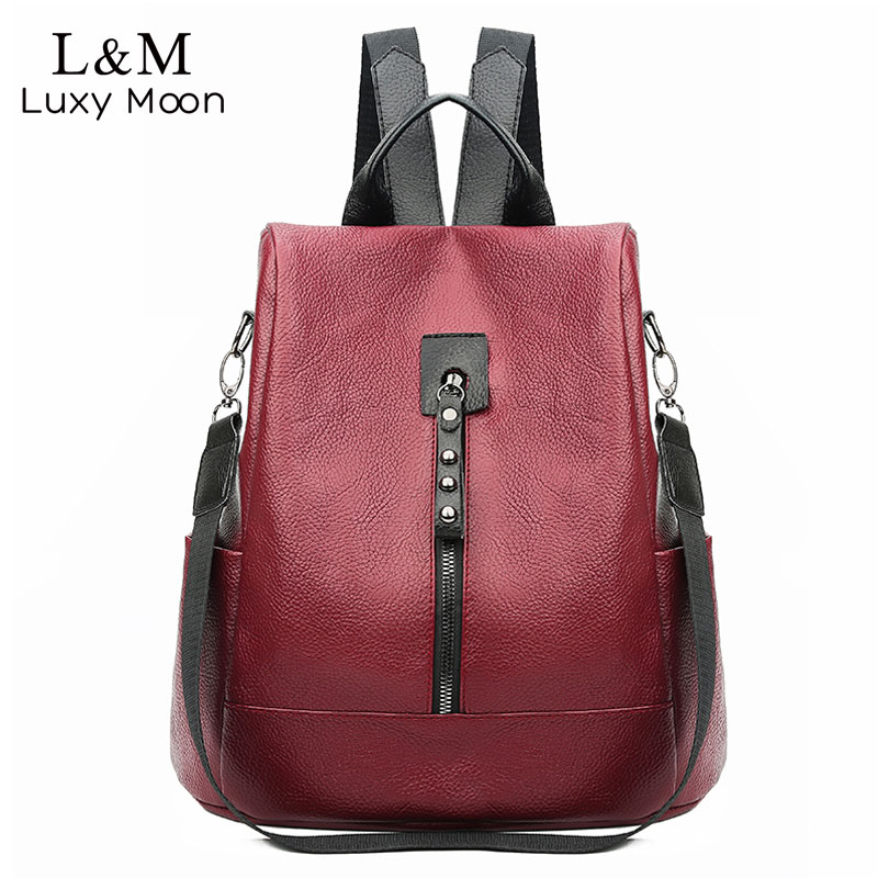 Elegant Women High Quality Leather Backpack Multifunction Backpack For Female Bookbag Anti Theft Travel Bag Sac A Dos XA493H