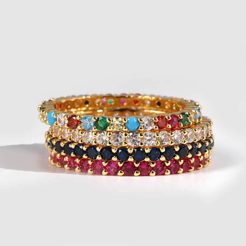 Высококачественное классическое разноцветное обручальное кольцо с кубическим цирконием для женщин, Серебряное Золотое кольцо с австрийским кристаллом, цветные кольца с фианитами