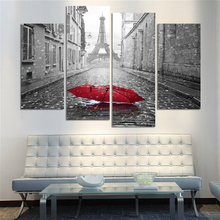 Paris Street Black and White Tower Poster Modern Home Decor Canvas Prints Red Umbrella Picture Painting Office Wall Art Dropship