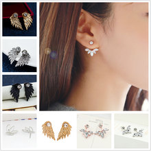 Pair of Hot 2018 New Gold and Silver Plated Leave Crystal Stud Earrings Fashion Statement Jewelry Earrings for Women(China)