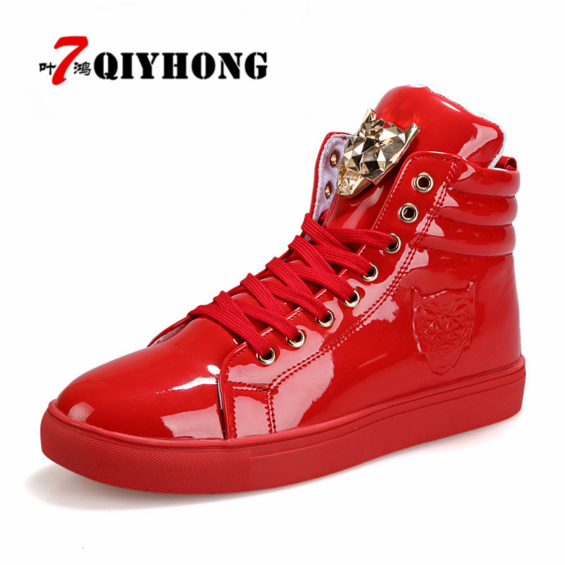 2018 New Fashion High Top Casual Shoes For Men PU Leather Lace Up Red White Black Color Mens Casual Shoes Men High Top Shoes fonirra new fashion high top casual shoes for men ankle boots pu leather lace up breathable hip hop shoes large size 45 728