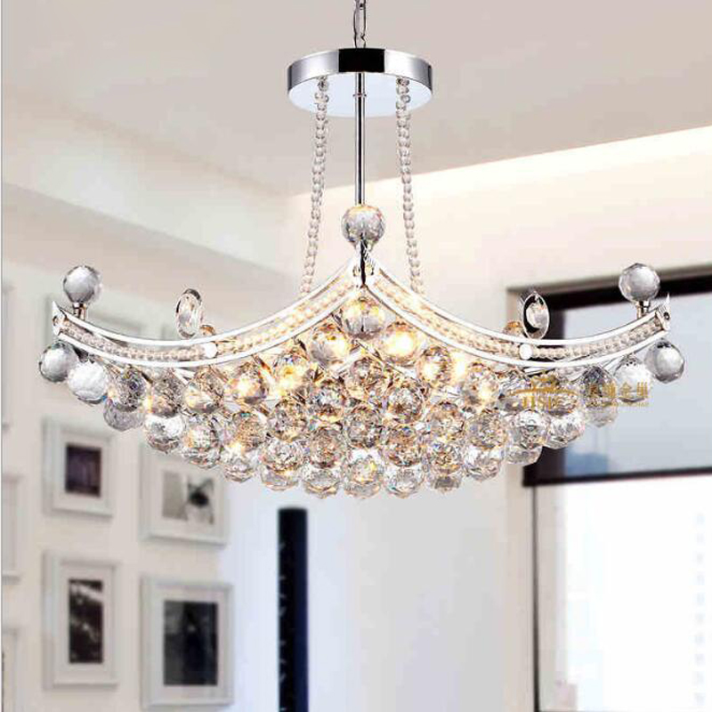 Classic boat crystal chandelier Home led crystal living room chandelier Study bedroom dining room lamp led lighting fixture led modern crystal chandelier hanging lighting birdcage chandeliers light for living room bedroom dining room restaurant decoration