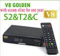 Mejor servidor cccam V8 de Oro COMBO Satélite decodificador TV turner dvb t2 receptor de satélite cccam dvb-s2 con un año de europa cline