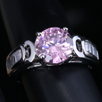 Impressive Multigems Pink Cubic Zirconia 925 Sterling Silver Women S Party Jewelry US Rings Size 6