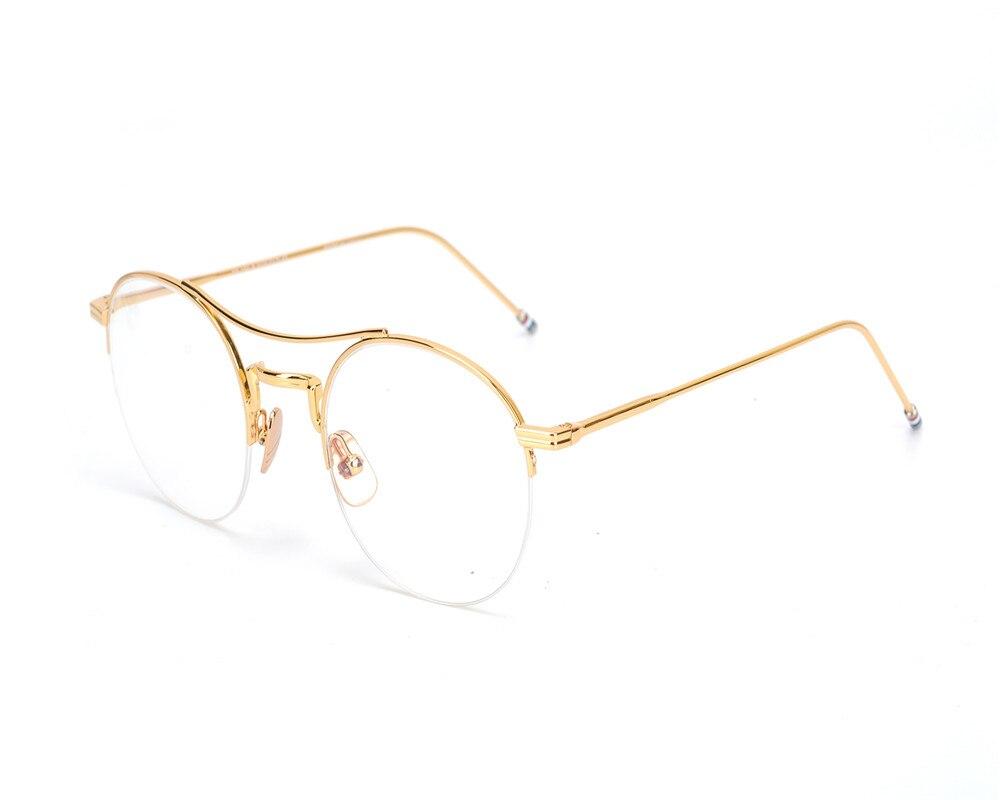 Women Men Fashion Alloy Half Round Rim Eyewear Frame Brand Designer Vintage Gold Silver Myopia Optical Eyeglasses Xy903 Apparel Accessories Men's Glasses