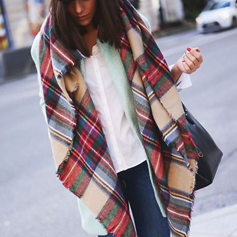 Women Blanket Oversized font b Tartan b font Plaid Scarf Wrap Shawl Poncho Jacket Coat Stole