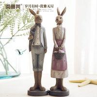 Conejo pareja creativa conejo resina adornos artesanales adornos lindos pequeños adornos
