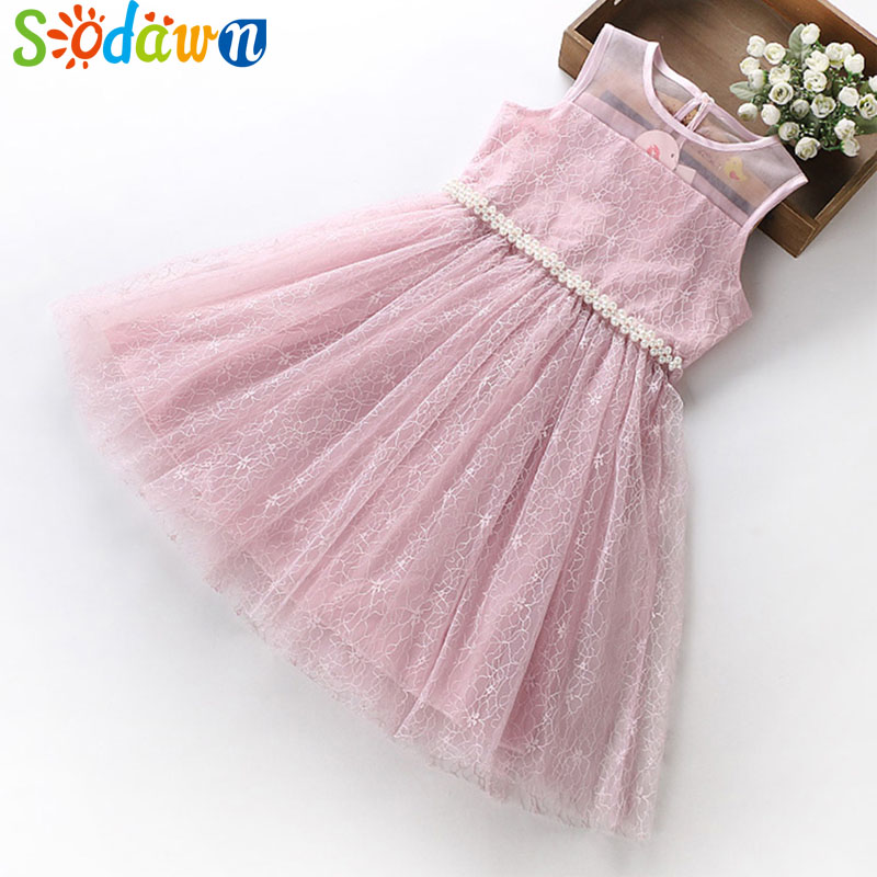 Sodawn 2018 Girls Dress Summer New Sleeveless Lace Party Princess Dress Girls Teenage Girls Clothing Baby Girls Princess Dress цена