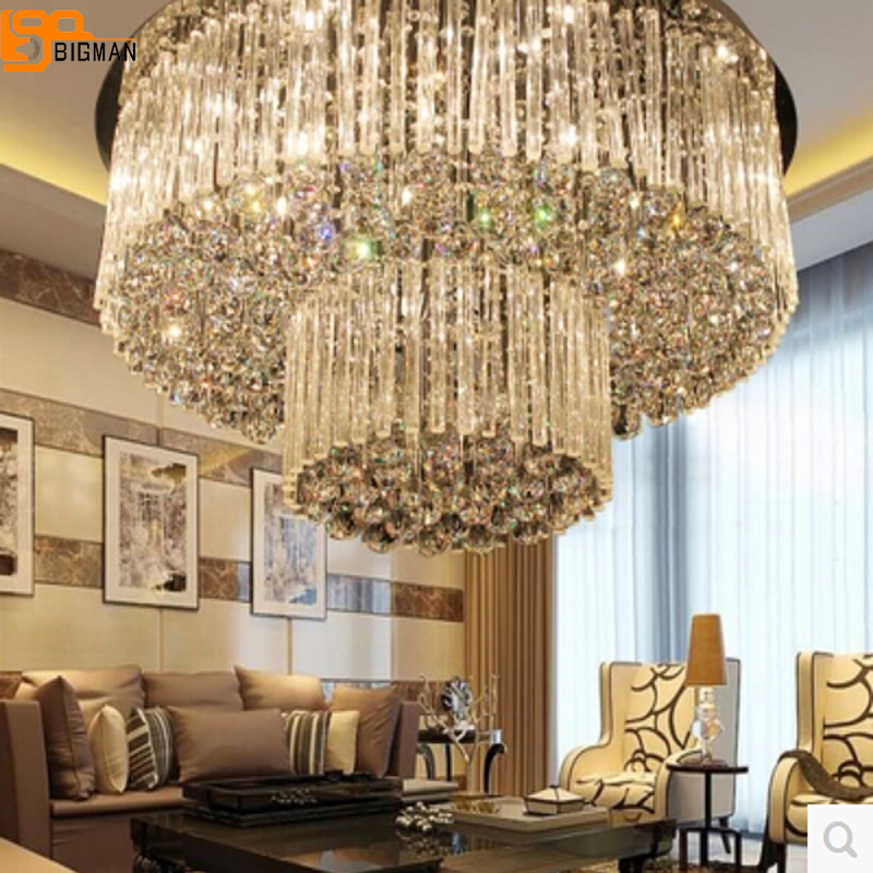 купить Free shipping new design 2 layers crystal lamp Dia800*H360mm modern lustre crystal chandelier hotel lobby light по цене 35372.3 рублей