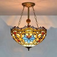 European creative bedroom restaurant Baroque style pendant lamp stained glass Bar love lamp 110 240V E27 Dia40CM 3 lights LED