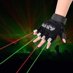 Image 1 - LAIDEYI Nuovo 1Pcs Rosso Laser Verde Guanti di Scena di Danza Spettacolo di Luci Con 4 pcs Luce Laser e LED di Palma per DJ Club/Partito/Bar