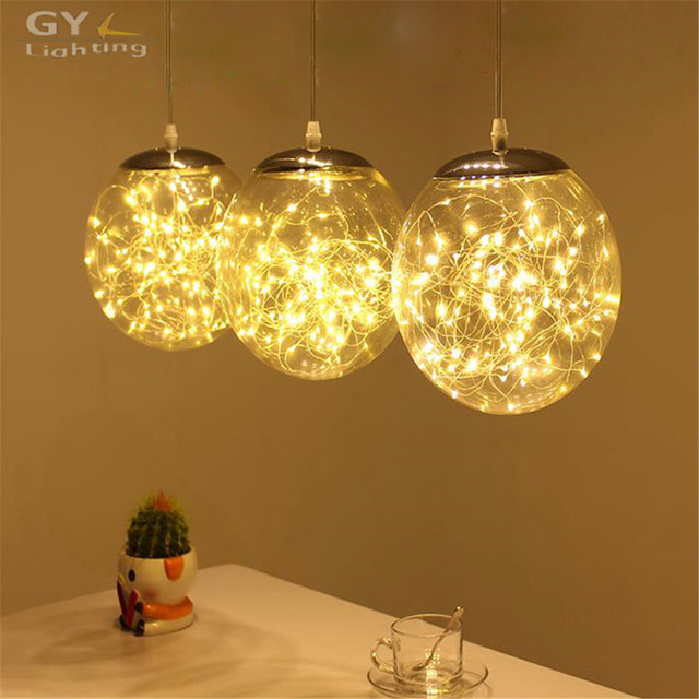 Modern Art Deco Kitchen Dining Room Led Chandelier 29W LED Wire String Light Restaurant Industrial Glass