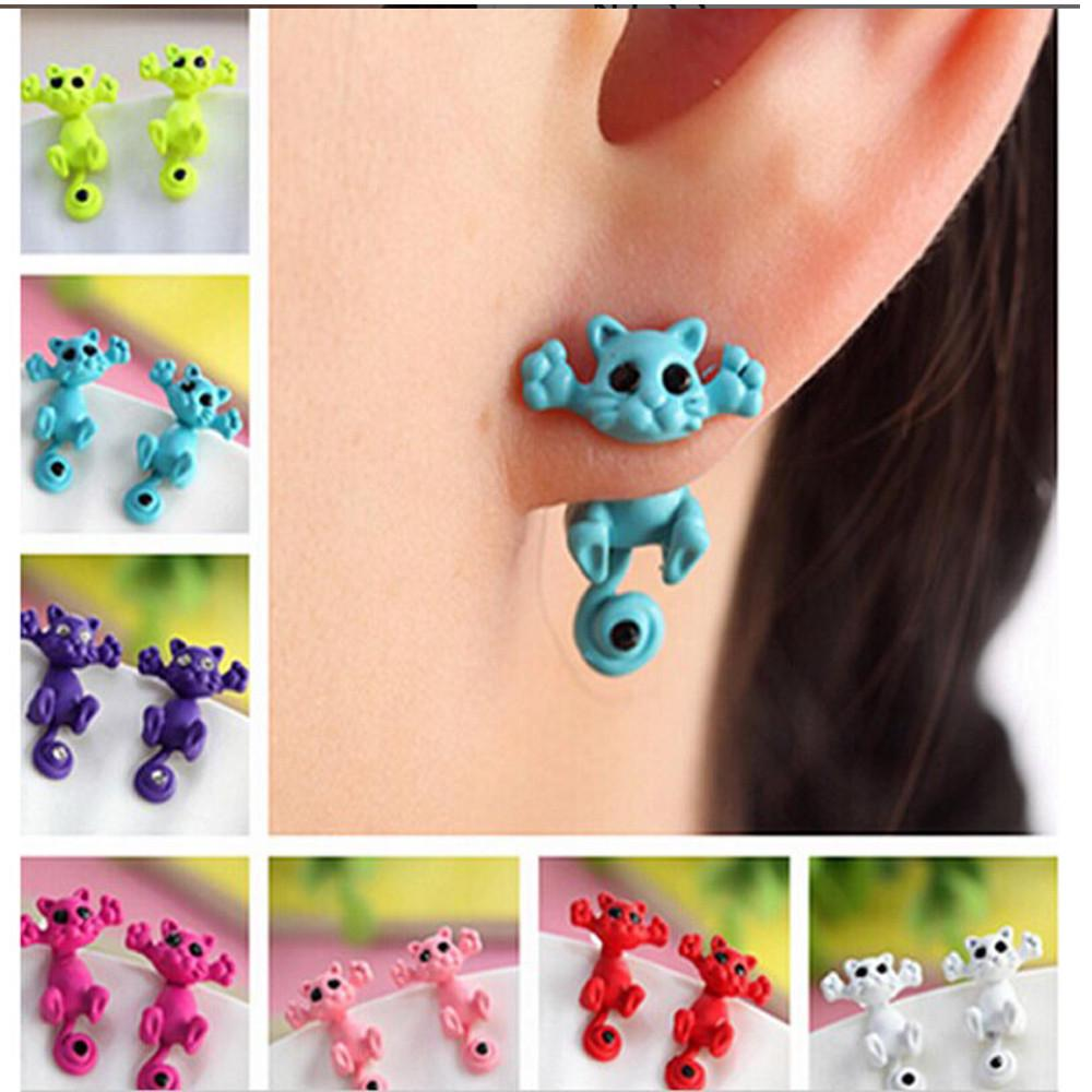 Creative Lovely Sweet Fashion  Animal Cartoon Cat Earrings Accessories 6 Colors Designer Inspired