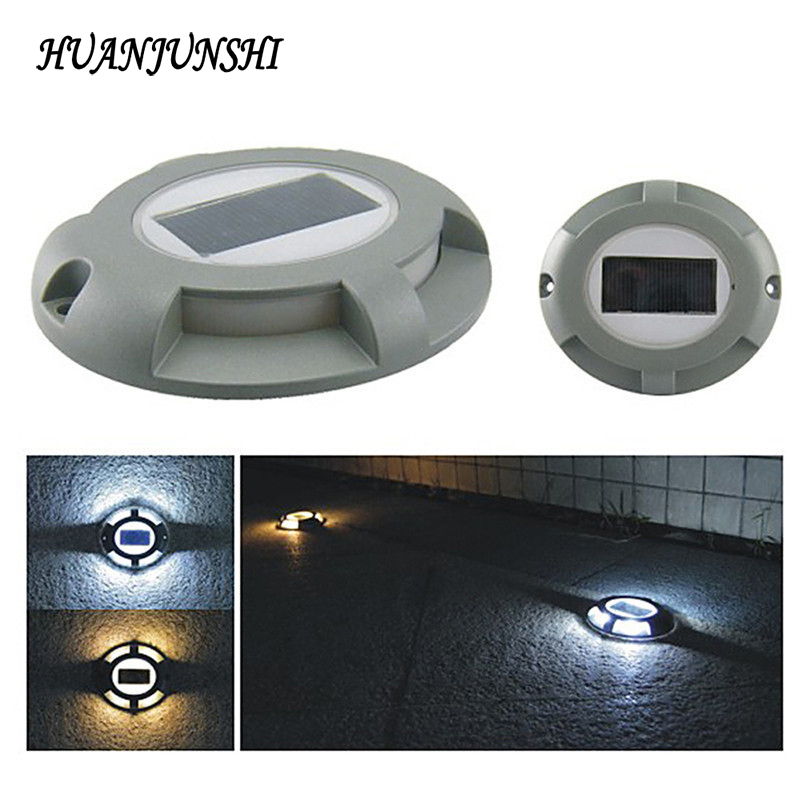 2PCS Solar LED Path Deck Road Stud Light Waterproof Security Lighting Warm White Outdoor Driveway Pathway Yard Garden Step Lamp