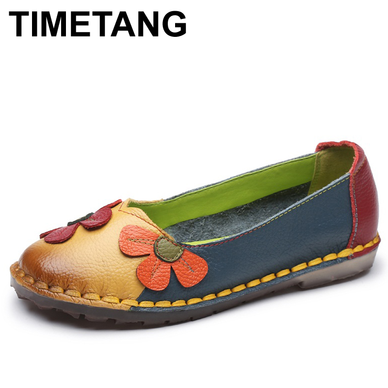 TIMETANG Summer Autumn Fashion Flower Design Round Toe Mix Color Flat Shoes Vintage Genuine Leather Women Flats Girl Loafer front lace up casual ankle boots autumn vintage brown new booties flat genuine leather suede shoes round toe fall female fashion