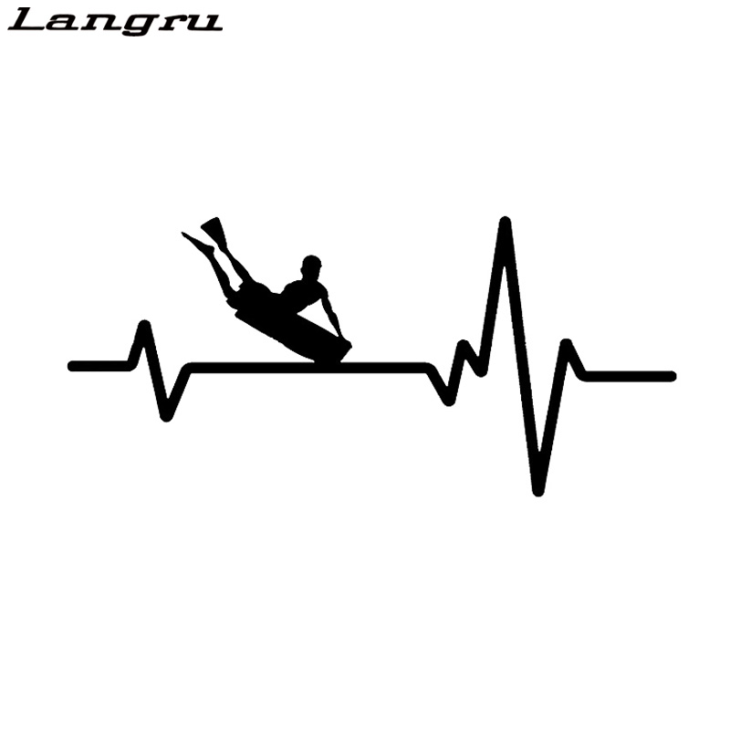Langru Personalized Surf Prone Body Board Heartbeat Vinyl Decal Car Sticker Jdm(China)