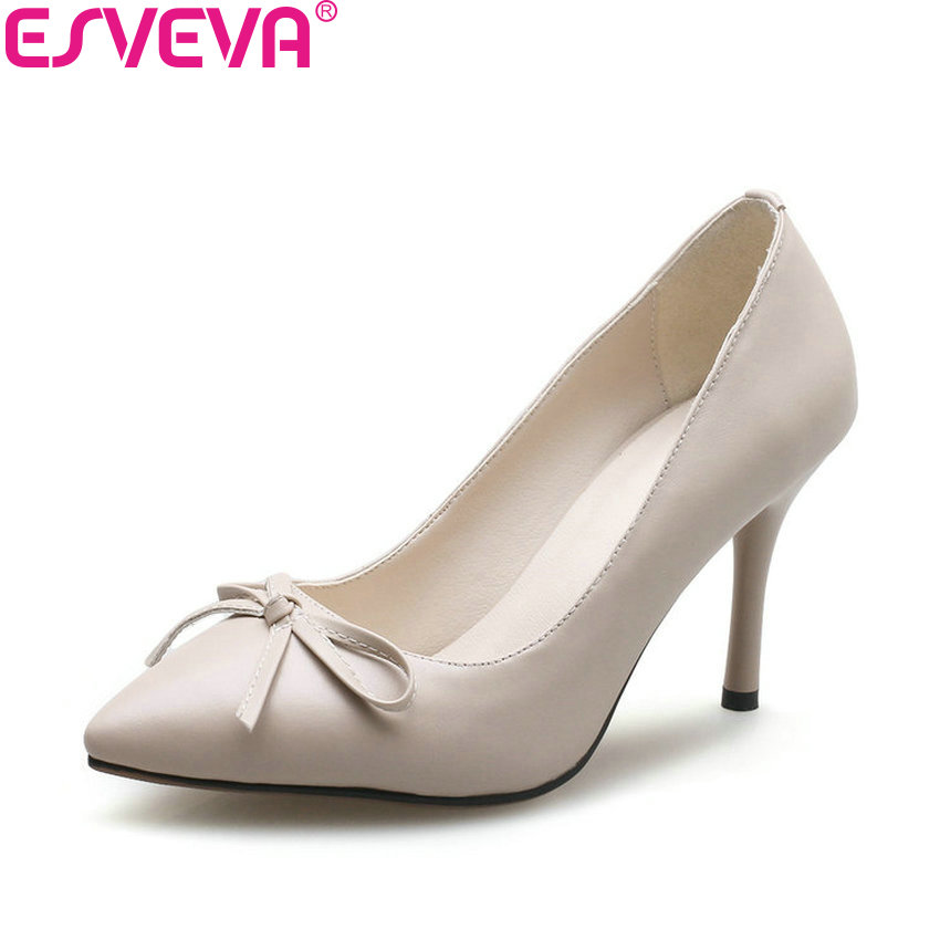ESVEVA 2018 Women Pumps Slip on Shoes Simple Spring and Autumn Pointed Toe Thin High Heels Butterfly-knot Women Shoes Size 34-39 enmayer spring autumn women fashion wedding pumps shoes rhinestone beading pointed toe slip on thin heels large size 34 43 white