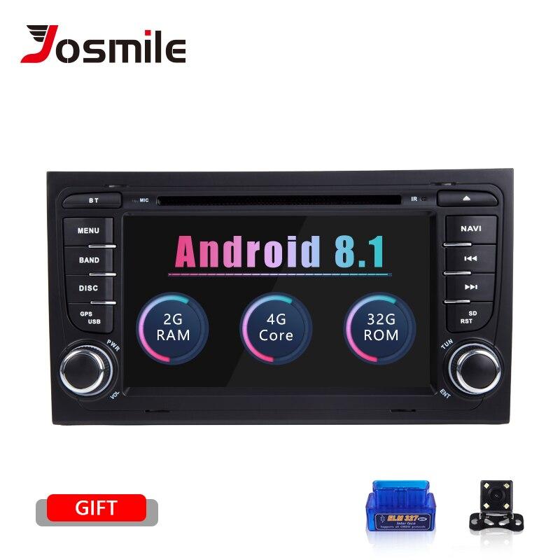 Josmile 2 Rádio Do Carro um Din GPS Android 8.1 Jogador Do Carro DVD para Audi A4 B8 S4 B6 B7 RS4 8E 8 H B9 Seat Exeo 2002-2008 Navegação Áudio