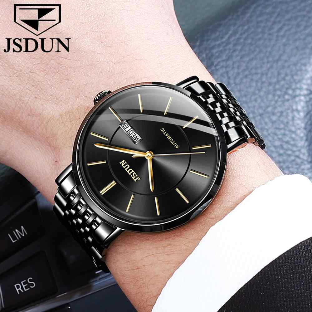 Erkek Moda Casual Mekanik Basit Saatler Su Geçirmez 30 M Ince Paslanmaz Çelik Marka Lüks Otomatik Iş Izle saat