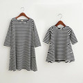 1psc Family Dress Mother Daughter Summer Long Sleeve Striped Family Look Matching Clothes Mom And Daughter Dress Family Clothing