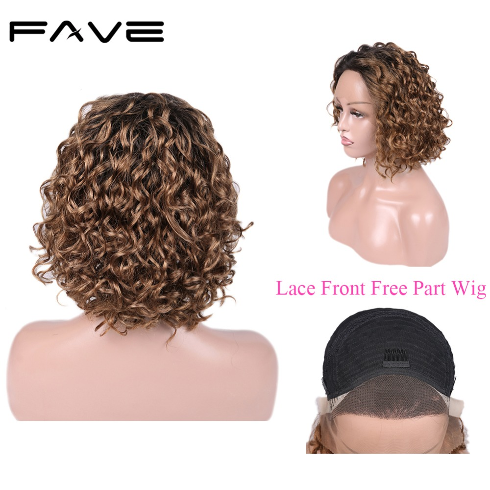 Lace Front Curly Wig Brazilian Human Remy Hair Free Part Wigs For Women Pre Plucked Free Shipping & Gift FAVE Hair