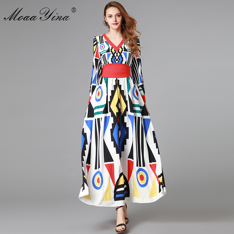 MoaaYina แฟชั่น Designer ชุดเดรสฤดูใบไม้ผลิฤดูใบไม้ร่วงผู้หญิงแขนยาว V คอพิมพ์ชุดเสื้อผ้าหญิง-ใน ชุดเดรส จาก เสื้อผ้าสตรี บน   1