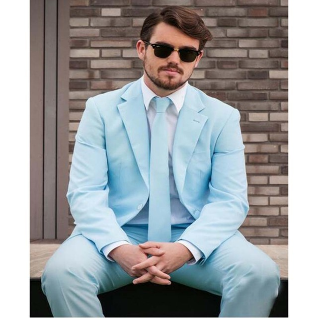 2017 New Slim Fit Groom Tuxedos Light Blue Mens Wedding Suits with ...