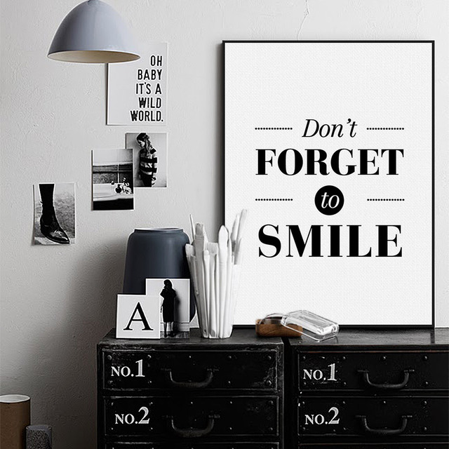 Nordic Black White Minimalist Motivational Typography Smile Quotes Poster Print Wall Art Living Room Home Decor
