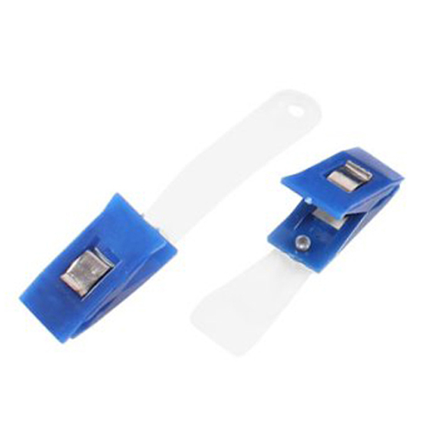 40 pcs plastic id card holder name badge clips fastener blue - Plastic Id Card Holder
