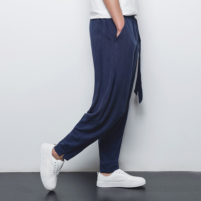 Chinese style linen men's casual pants 2016 summer thin breathable comfort male loose harem pants plus size M-4XL